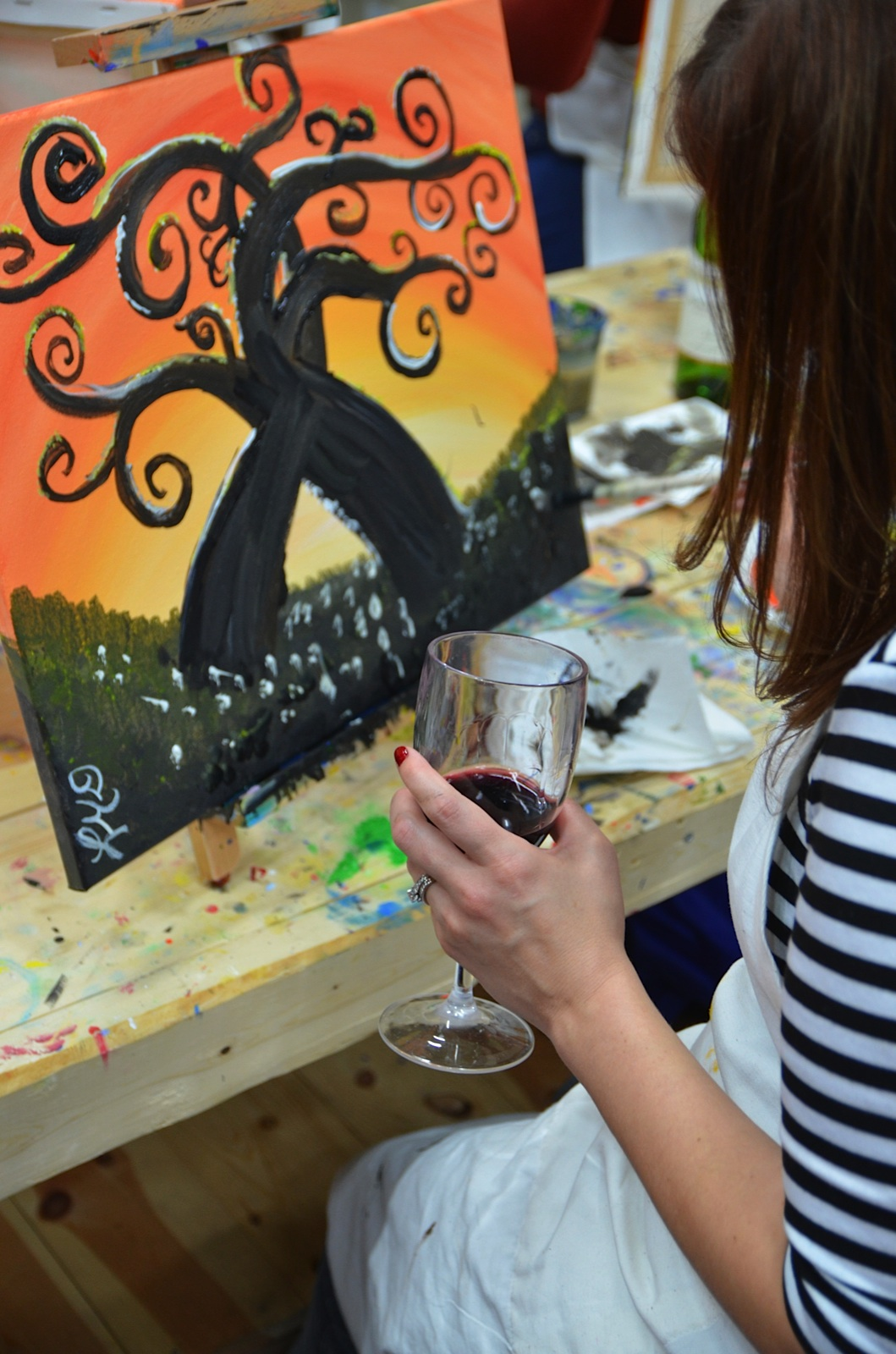 Tipsy paint a social spin on classic painting classes for Painting class chicago