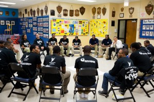 "President Obama participating in one of WSC's ""Becoming a Man"" sessions."