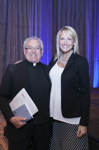 Monica Pedersen with Father Rubey